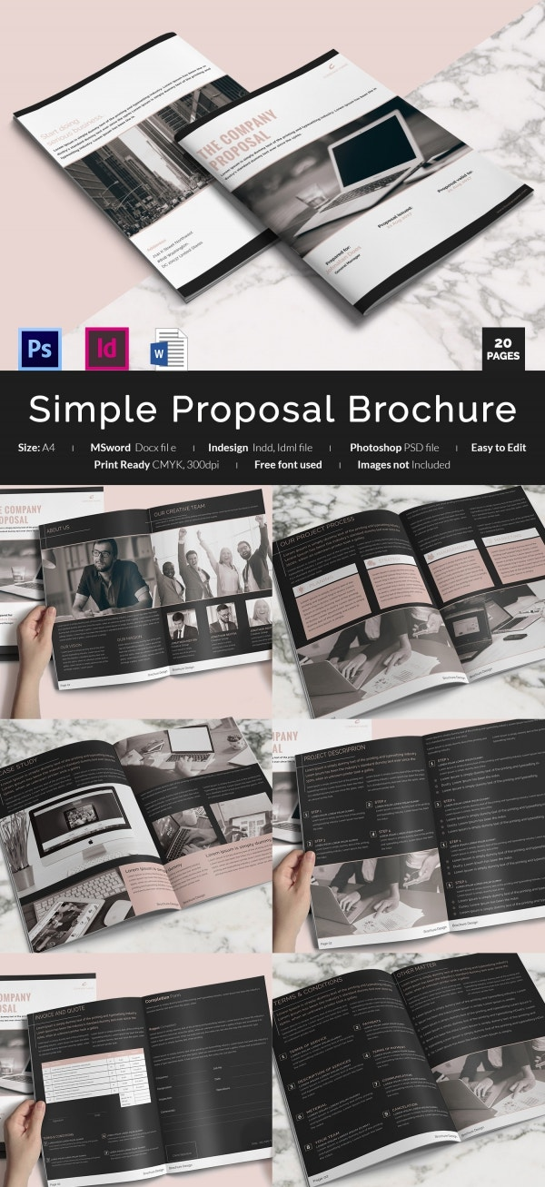 Simple Business Proposal Brochure Download in Word & PSD Format
