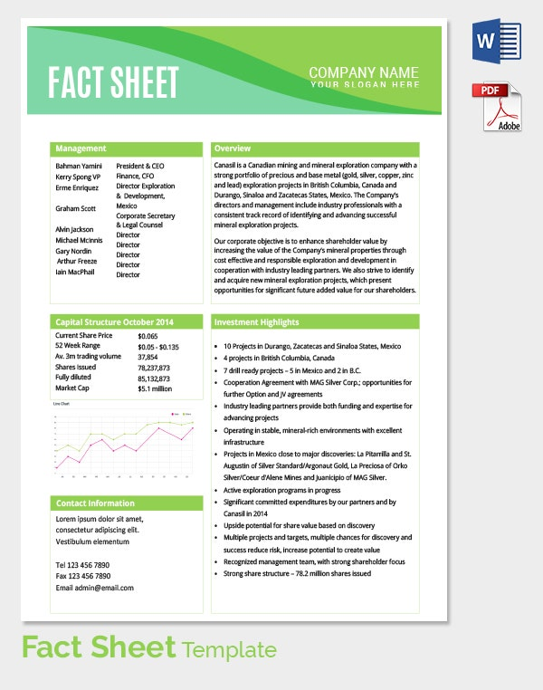 Fact Sheet Template Word. Fact Sheet Template – 8+ Download