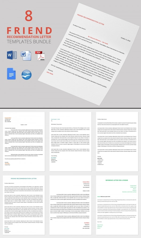 8 Bundle Recommendation Letter Template for a Friend