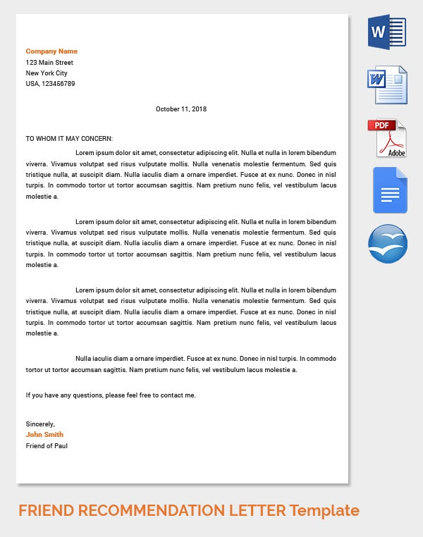 Friend Recommendation Letter Template for Job