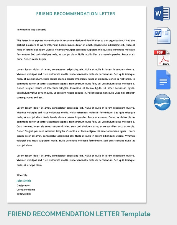 friend promotion recommendation letter template