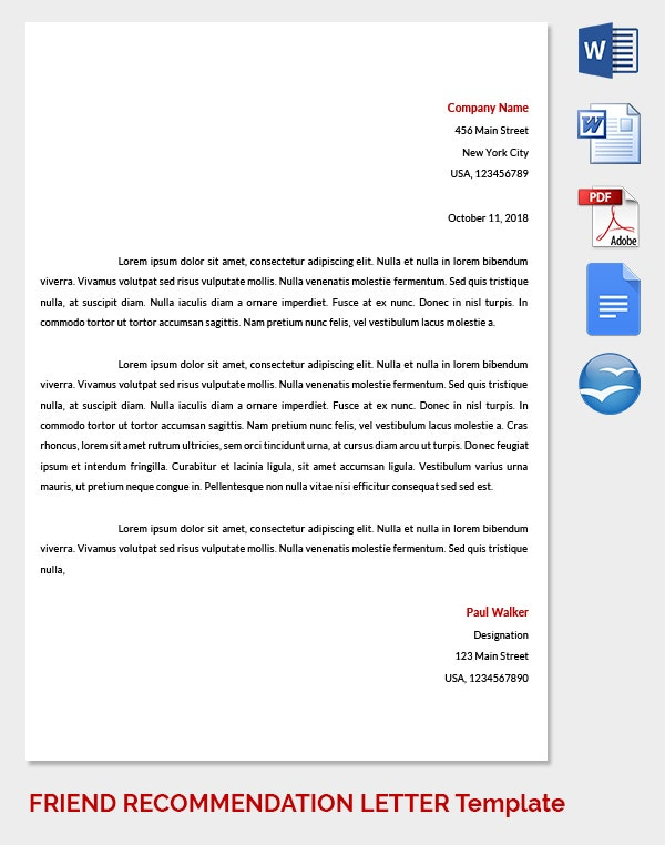 Friend Recommendation Letter to School Teacher
