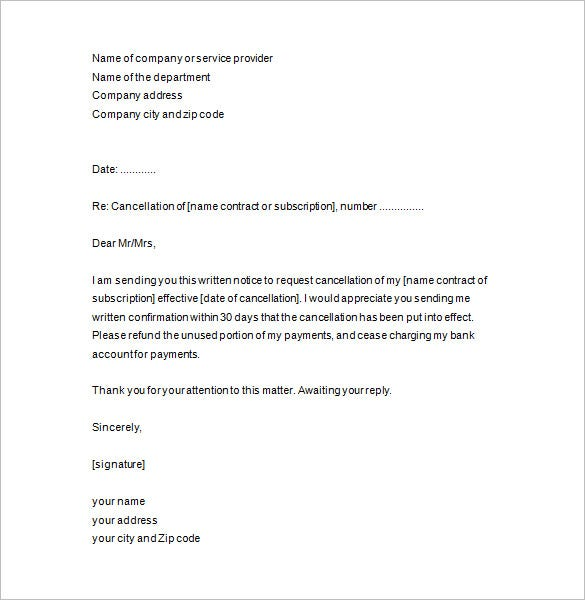 Notice of cancellation template service termination letter templates free sample example format spiritdancerdesigns Choice Image