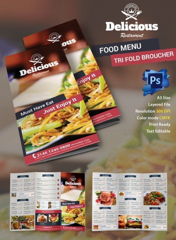 Food Brochure Image SetFoodFlyer Jpg Branding Identity For - Free indesign tri fold brochure templates