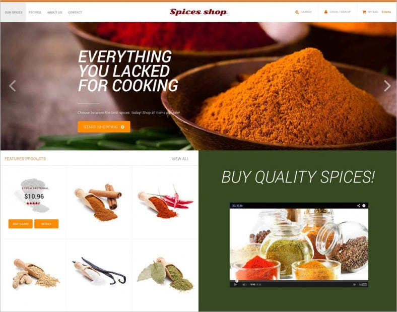 spice shop psd template 788x619