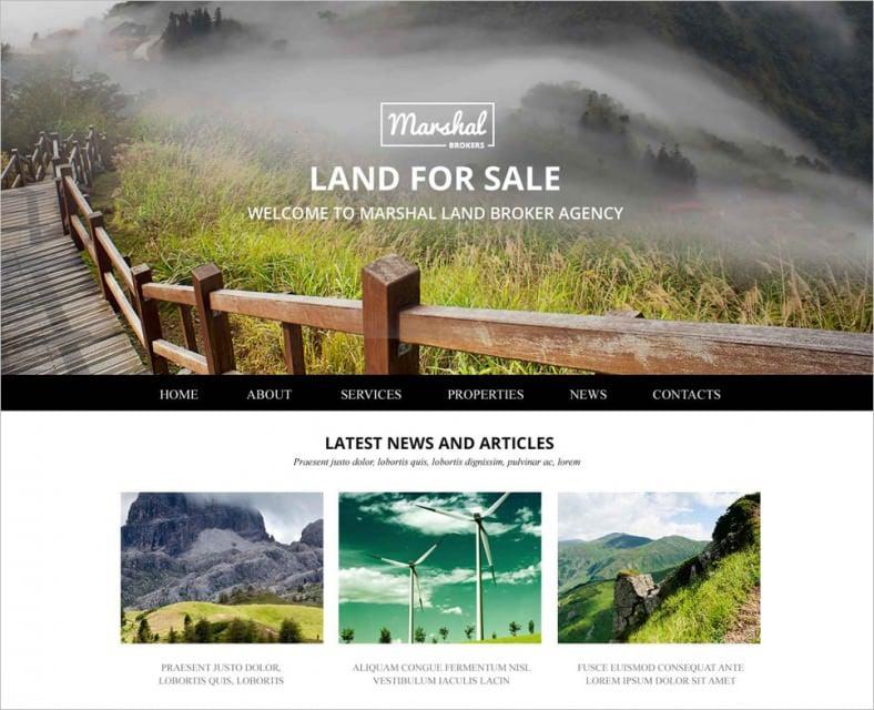 land brokers website template 788x640