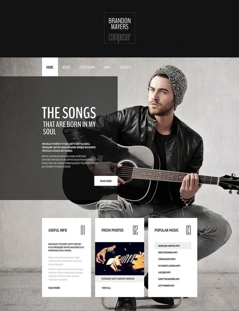 clean seo friendly music composers portfolio website template 69