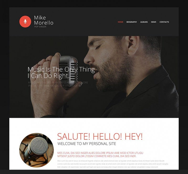 singers portfolio website template 788x729