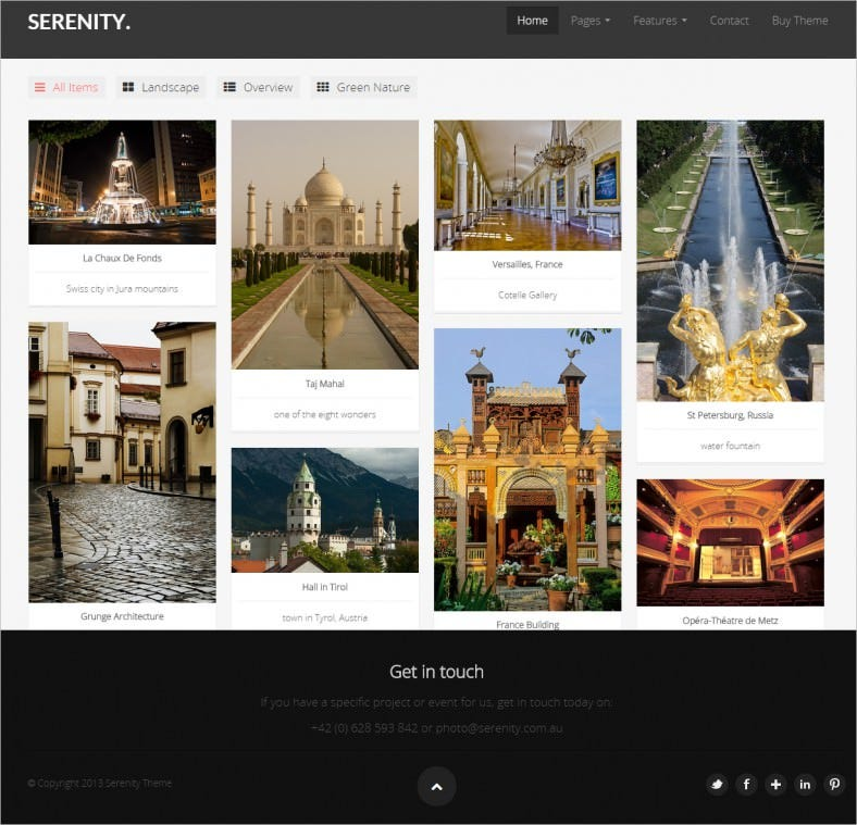serenity portfolio template 788x759