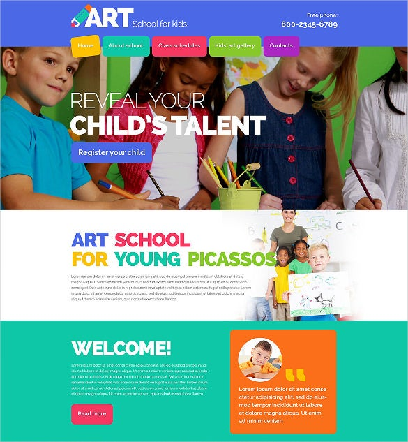 clean html5 css3 children art school website template