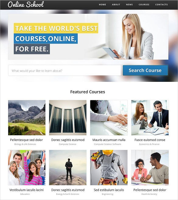 effective 2 columns layout online school website template