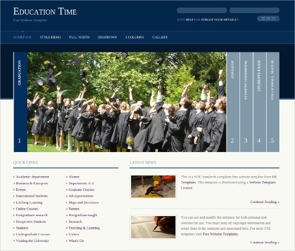 education 2 columns layout website template free download