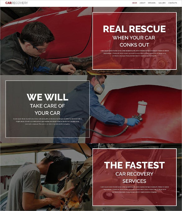 black and red parallax effect one page website template