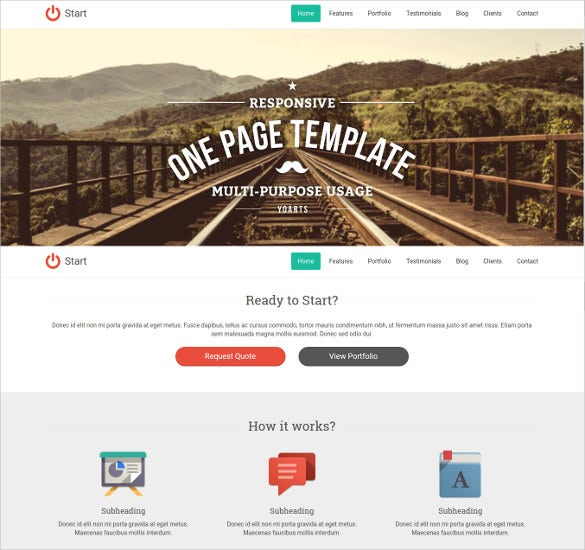 retro style bootstrap one page template