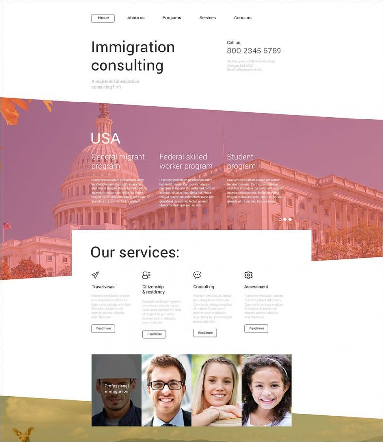 immigration consulting website template 788x910