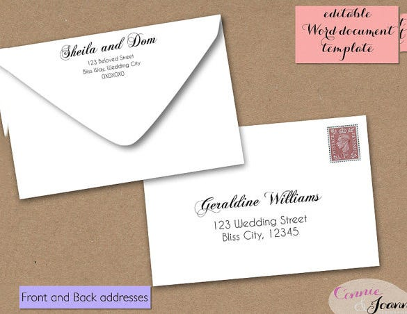 4x6 wedding envelope template download