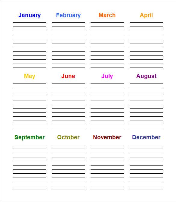 Free printable birthday calendar template in word doc