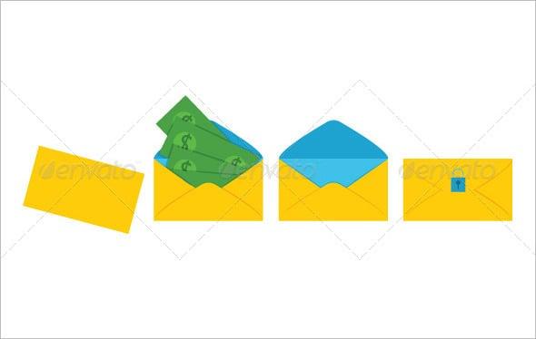 yellow colour money envelope template