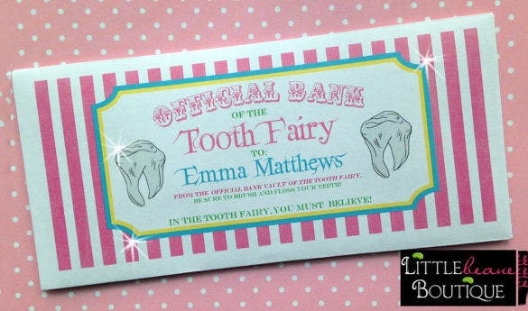 personalized tooth fairy money envelope
