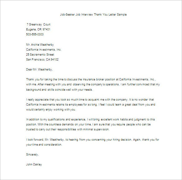 sample thank you letter for interview free download