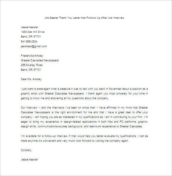 Thank You Letter for Interview 6 Free Word Excel PDF Format – Thank You Letters for Job Offer