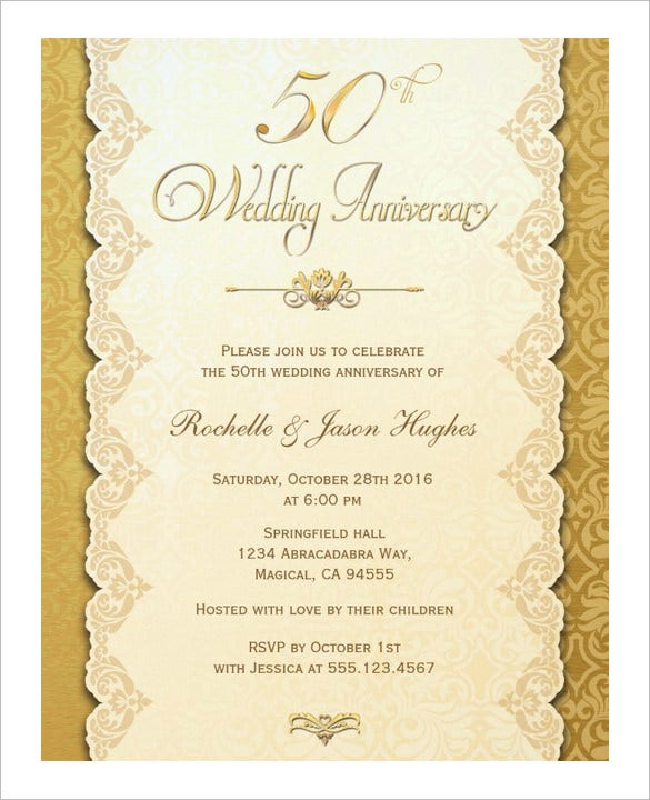 50th anniversary card gold invitation download