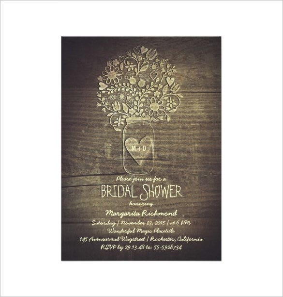 5x7 bridal shower paper invitation card
