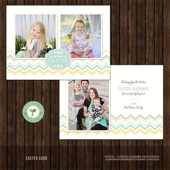 5x7 photos easter card psd template