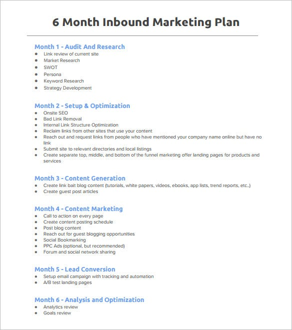 Marvelous 6 Month Inbound Marketing Plan Outline