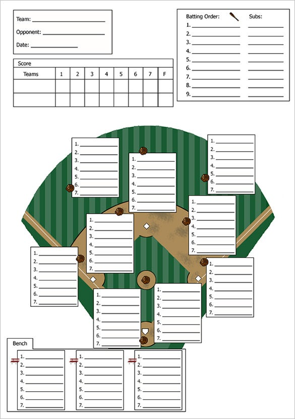 7 Innings Baseball Lineup Card Template Free