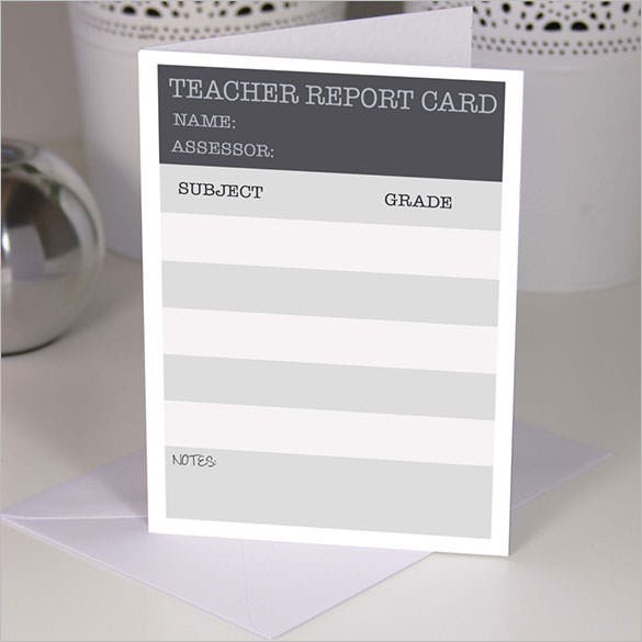 a5 handmade teacher report card