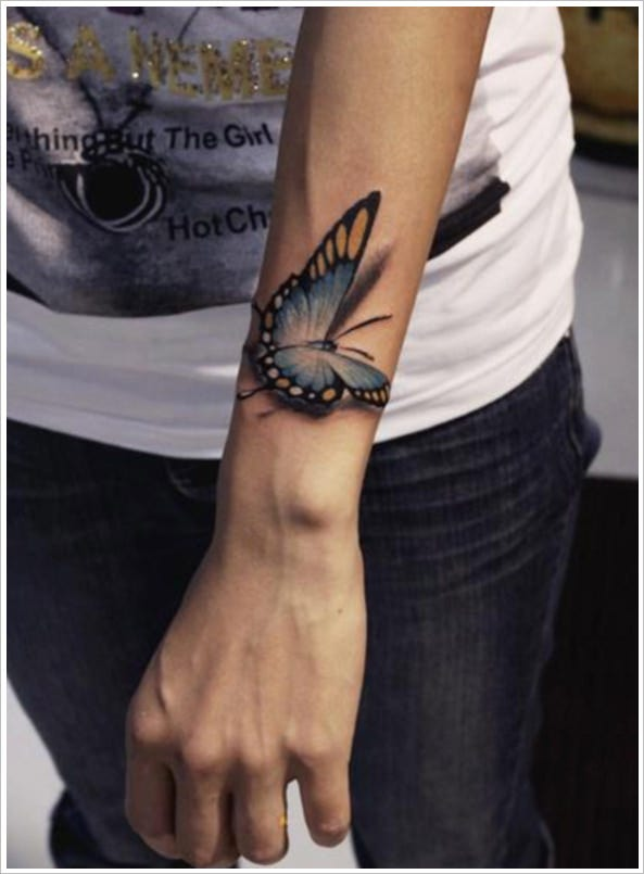 abstract 3d butterfly tattoo design