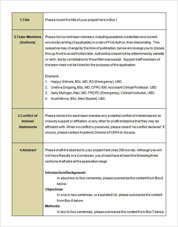 Sample Research Proposal Free Download Project Proposal Template