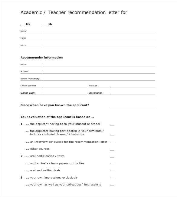 academic teacher recommendation letter