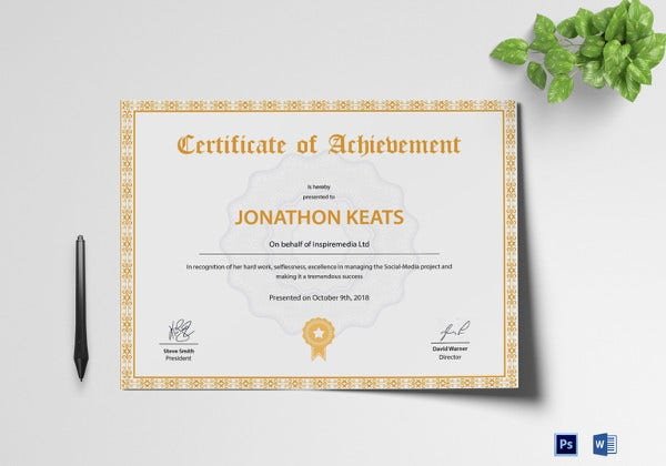 achievement certificate psd template