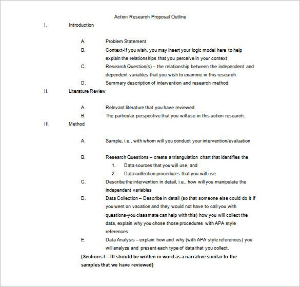 High Quality Action Research Outline Template