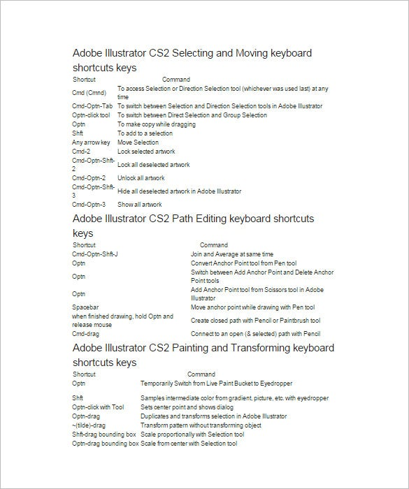 adobe illustrator cs2 shortcut keys