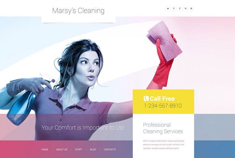 advanced bootstrap wordpress theme for cleaning 788x529