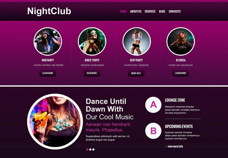 Advanced Navigation Joomla Template for Night Club