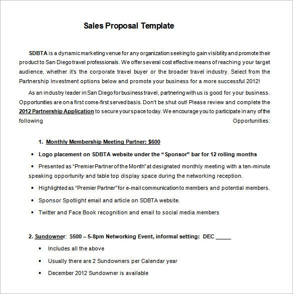 Sales Proposal Template – 12+ Free Word, Excel, Pdf, Ppt Format