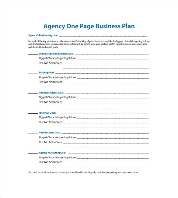 agency one page business plan template