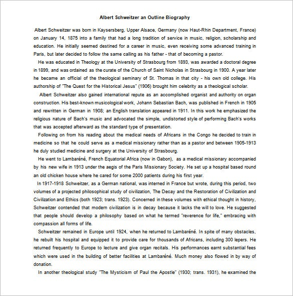 albert schweitzer outlines biography word download