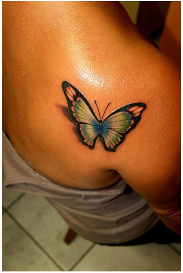 amazing 3d butterfly tattoo design