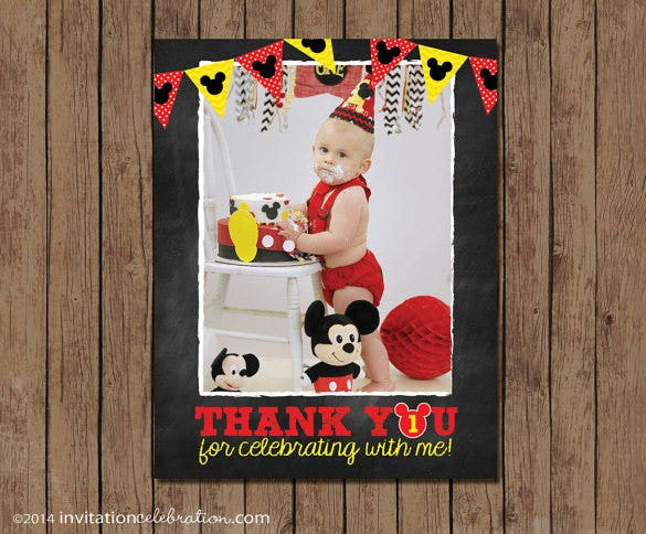 amazing mickey mouse thank you card