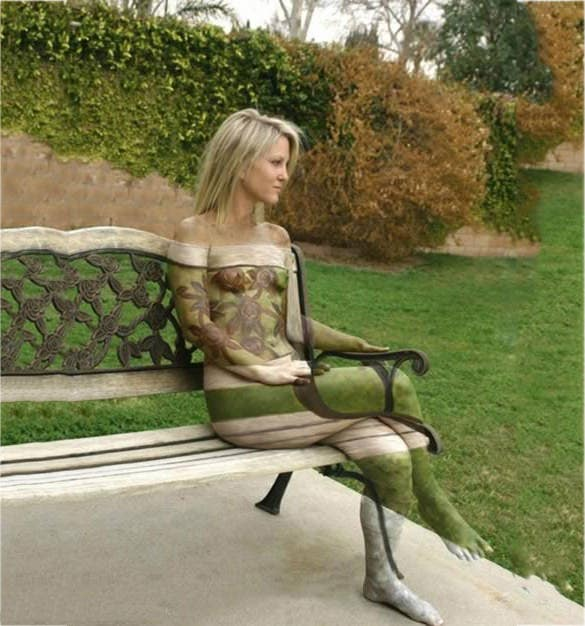 amazing woman 3d body painting