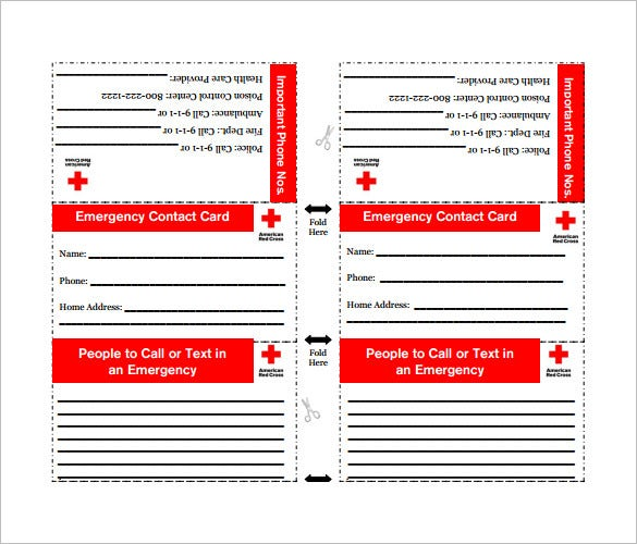 in case of emergency cards templates