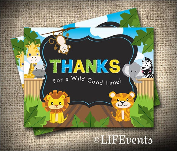 animal birthday thank you card template
