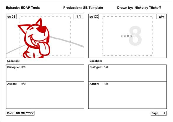 Animation Storyboard Template 9 Free Sample Example Format