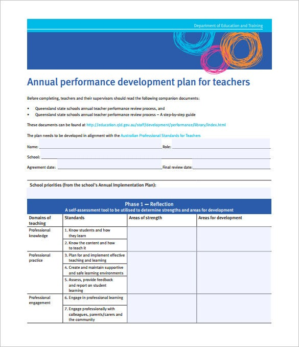 annual performance development plan format for teachers