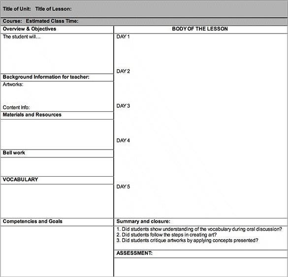 Lesson Plan Outline Template   Free Sample Example Format